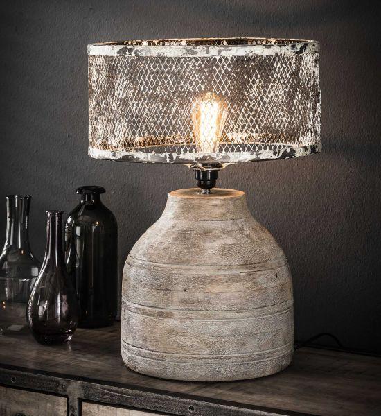 Tafellamp massief houten hoge bolle voet - Verweerd koper