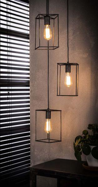 Hanglamp 3x cubic getrapt - Oud zilver