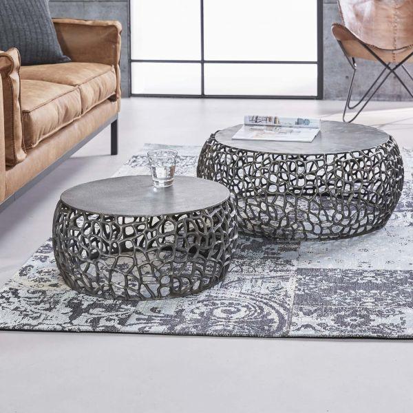 Salontafel set/2 maze zandgegoten - Nikkel