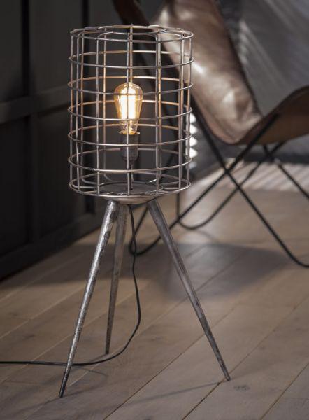Vloerlamp korf metalen driepoot - Oud zilver