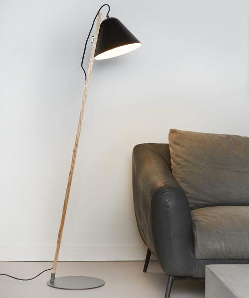 Vloerlamp 1L Torque wood - Zwart