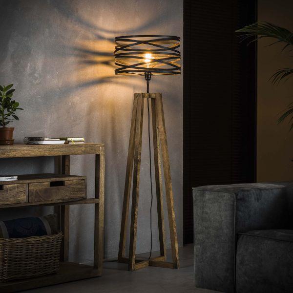 Vloerlamp twist houten kruisframe - Slate grey