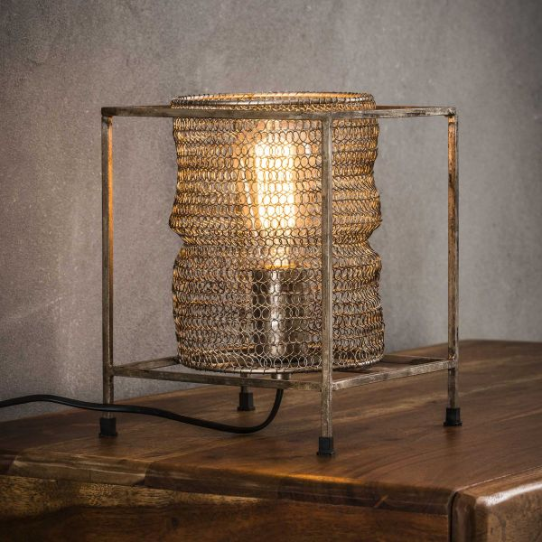 Tafellamp vierkant mesh - Antiek Nikkel