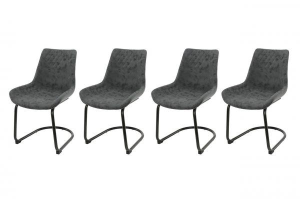 Stoel cup swingframe ronde buis - zwart (4-delige set)