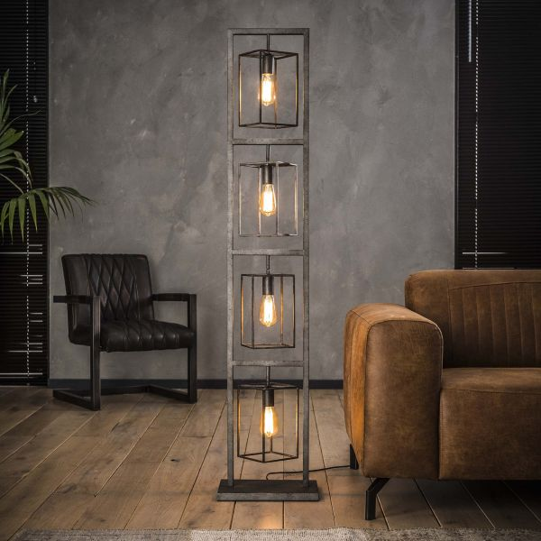Vloerlamp 4x cubic tower - Oud zilver