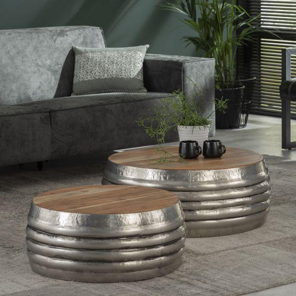 Salontafel set/2 houten top/staal - Antiek