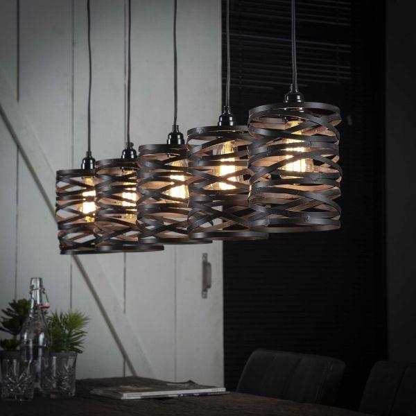 Hanglamp 5x ø17 spindle slate grey - Slate grey