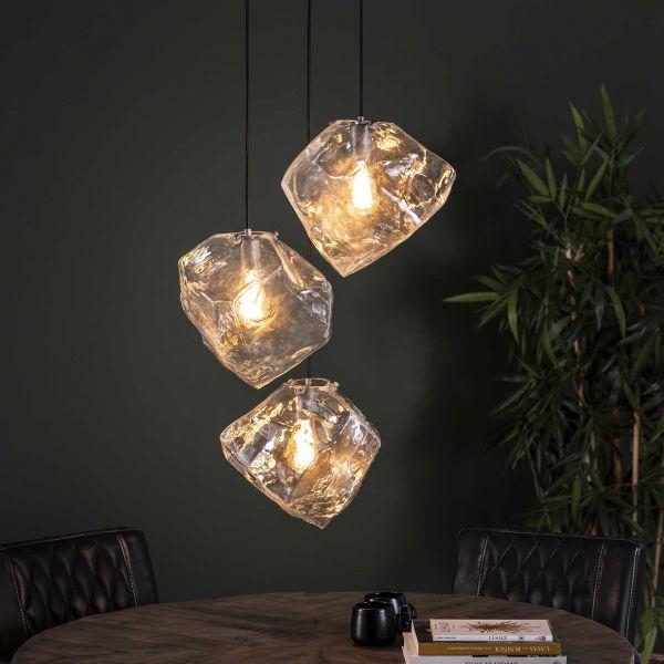 Hanglamp 3L rock clear getrapt - Transparant glas