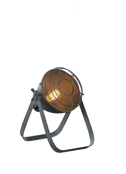 Vintage tafellamp Ø22cm met raster in industry Concrete. - Grijs