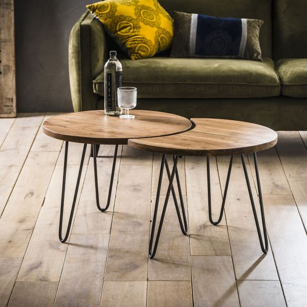 Salontafel set/2 Ø60 - naturel