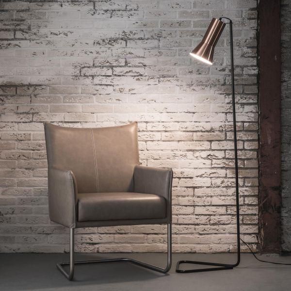 Vloerlamp triangle-koperen lampenkap