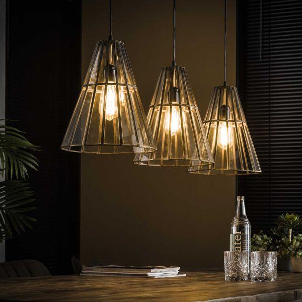 Hanglamp 3L artdeco kegelvormig - Brons antiek