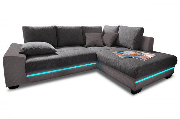 Hoekbank XL Nikita rechts - met LED - Antraciet