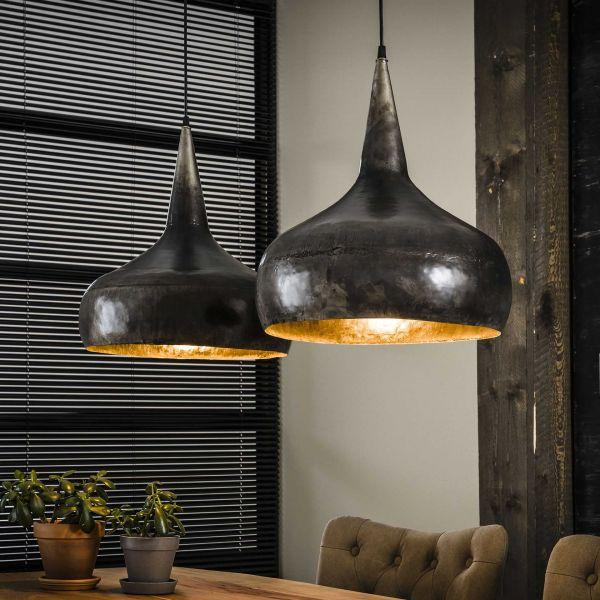 Hanglamp 2xØ40 trechter - Oud zilver