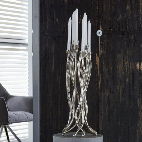 Kaarsenstandaard 61cm in zand gegoten vintage aluminium. - Antiek Nikkel