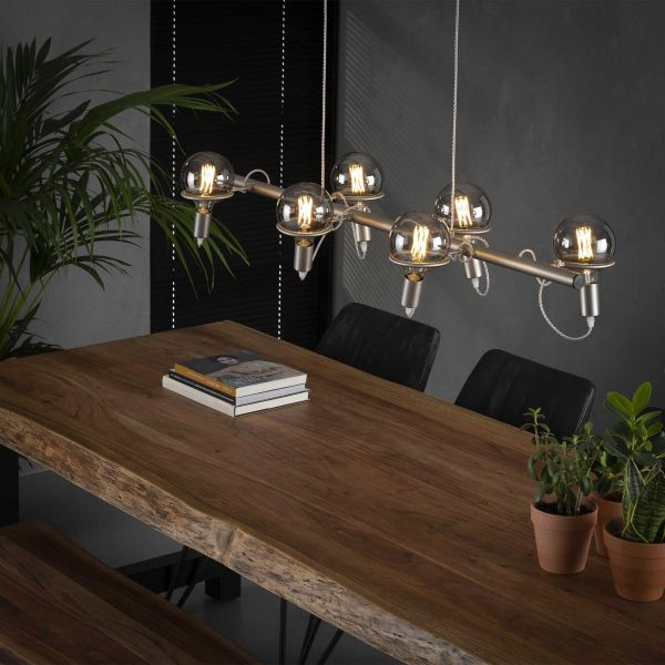Hanglamp 6L ring Ø12 5 lichtbron - Mat nikkel