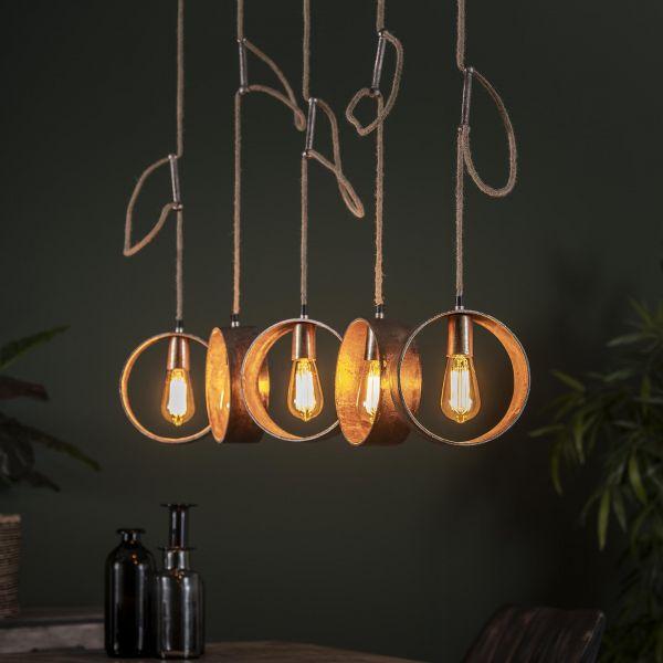 Hanglamp 5L loop - Antiek nikkel