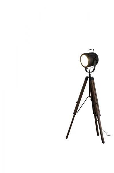 Vloerlamp Tripod vintage op houten statief - wart