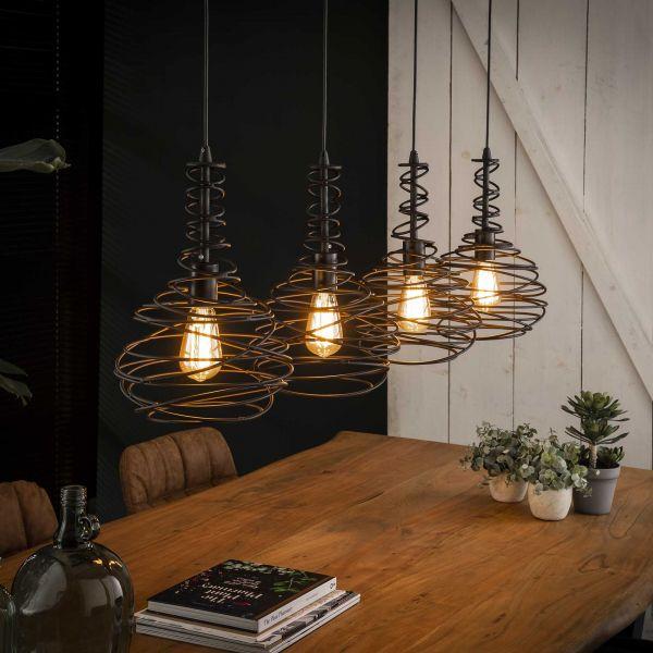 Hanglamp 4x Ø25 kegel spinn - Zwart