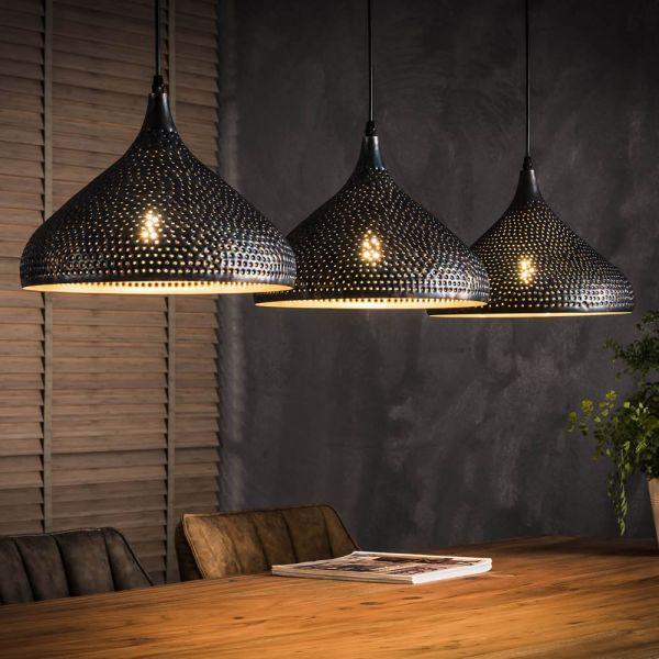 Hanglamp 3xØ32 punch trechter - wart bruin
