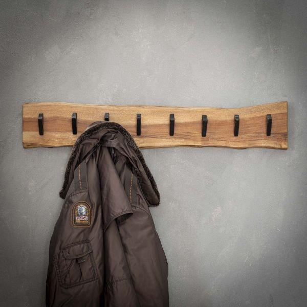 Kapstok edge 8 haken - Massief acacia naturel