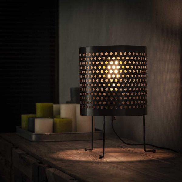 Tafellamp Ø22 cilinder geperforeerd - Zwart nikkel