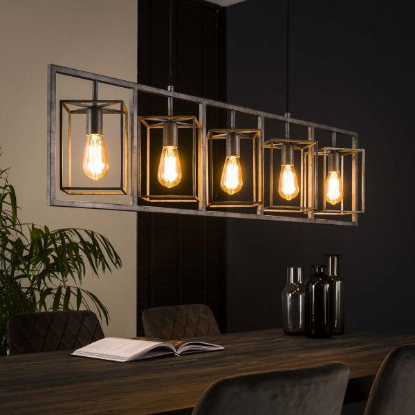 Hanglamp 5L cubic tower - Oud zilver
