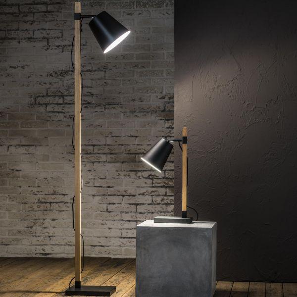 Tafellamp Pix met vierkante houten poot en stalen kap. - Zwart