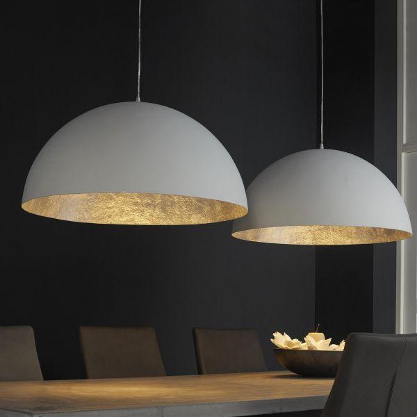 Hanglamp 2L matwit ø70-antiek zilver binnenkant - Wit
