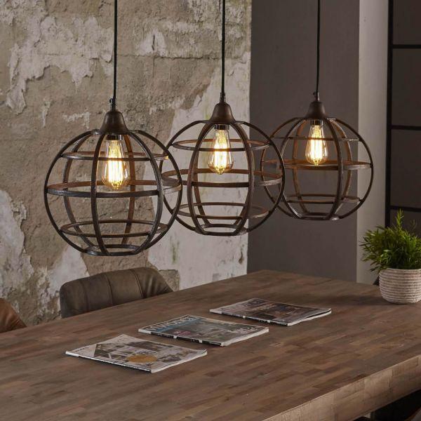 Hanglamp 3xØ33 globe - Antiek koper finish