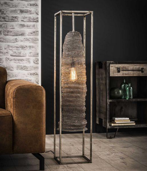 Vloerlamp rechthoek mesh hangend - Antiek Nikkel