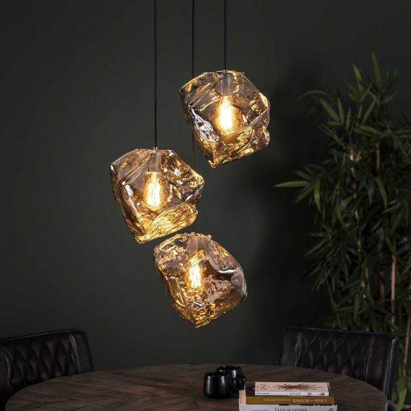 Hanglamp 3L rock chromed getrapt - Chromed glas