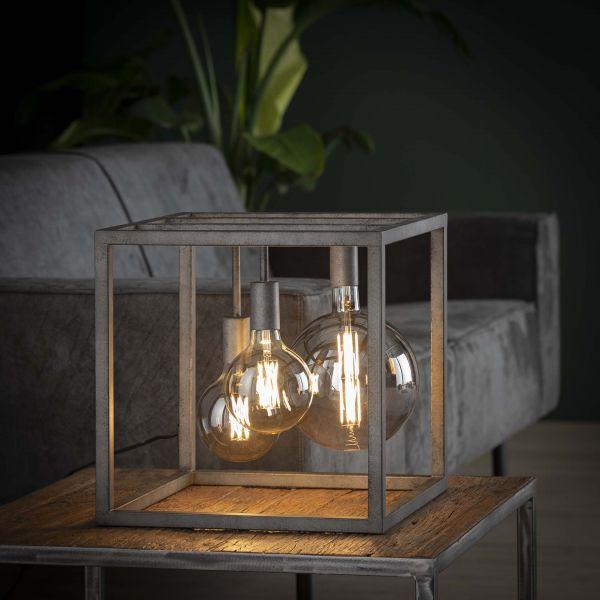 Tafellamp kubus XL frame vierkante buis - Oud zilver