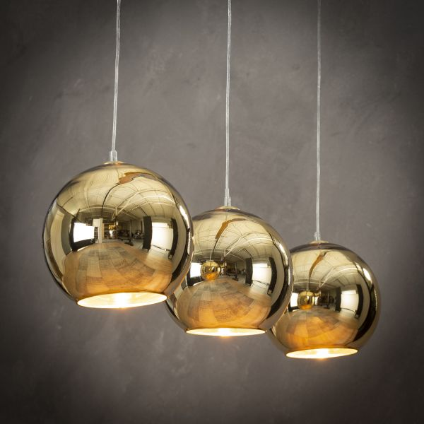 Hanglamp 3L globe - Goud