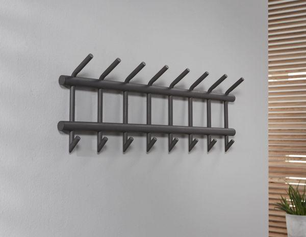 Garderobe met 8 haken uitgevoerd in ronde buis - Donkergrijs Mat