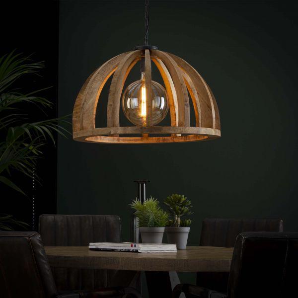 Hanglamp Ø60 gebogen houten spijlen - Massief mango naturel