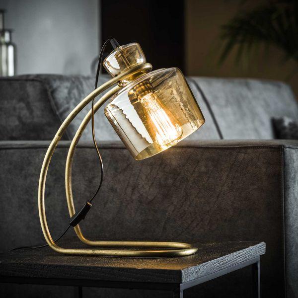 Tafellamp sledepoot amber glas - Brons antiek