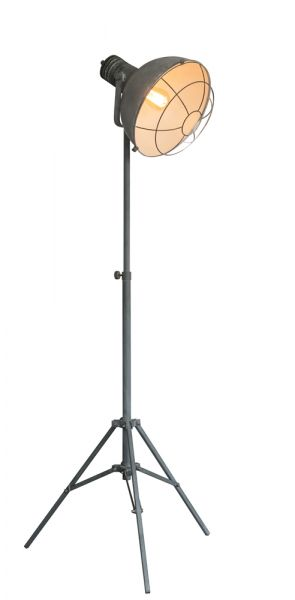 Vloerlamp 3-poot met raster in industry concrete. - Grijs