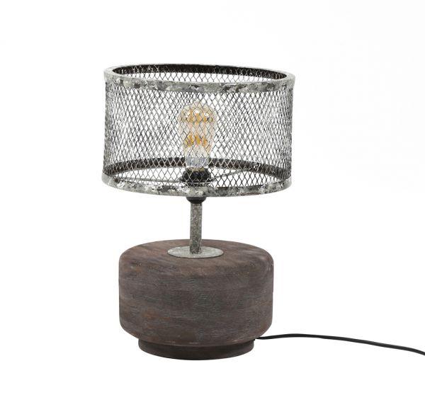 Tafellamp massief houten voet rond - Verweerd koper
