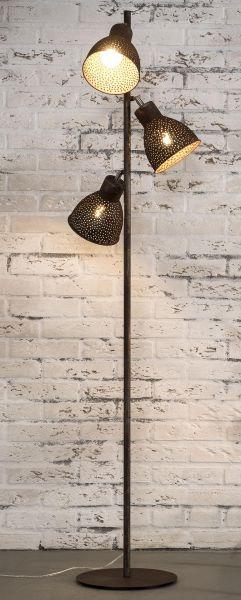Vloerlamp 3L aged iron - Bruin