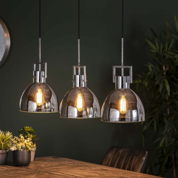 Hanglamp 3L industry chromed glass - Oud zilver