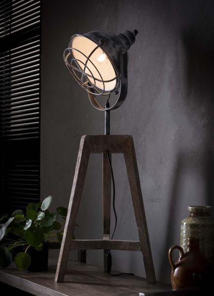 Vloerlamp iron raster houten driepoot - Grijs