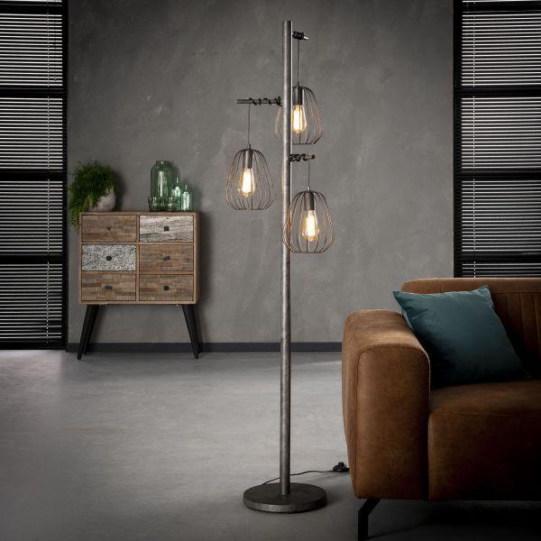 Vloerlamp 3L lampoon - Oud zilver