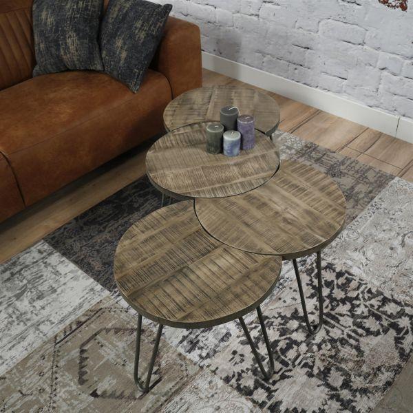 Salontafel bestaande uit een set van 4 losse bijzettafels met Ø50cm - leem antiek