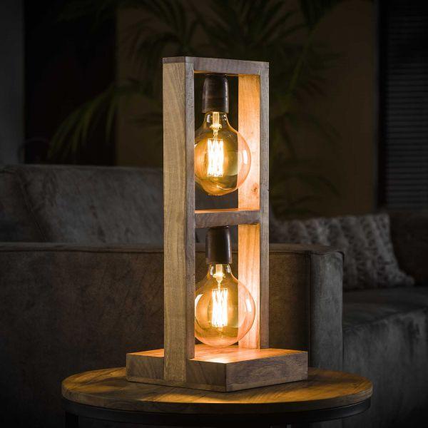 Tafellamp 2L modulo houten frame - Massief acacia naturel