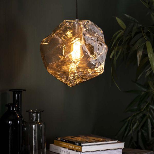 Hanglamp 1L rock chromed - Chromed glas