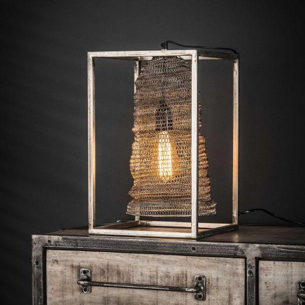 Tafellamp rechthoek mesh hangend - Antiek Nikkel