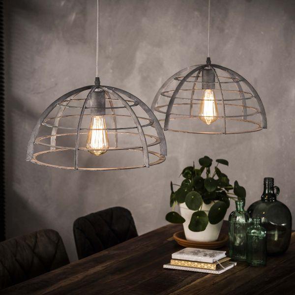 Hanglamp 2xØ40 halfrond staaldraad - Grijs