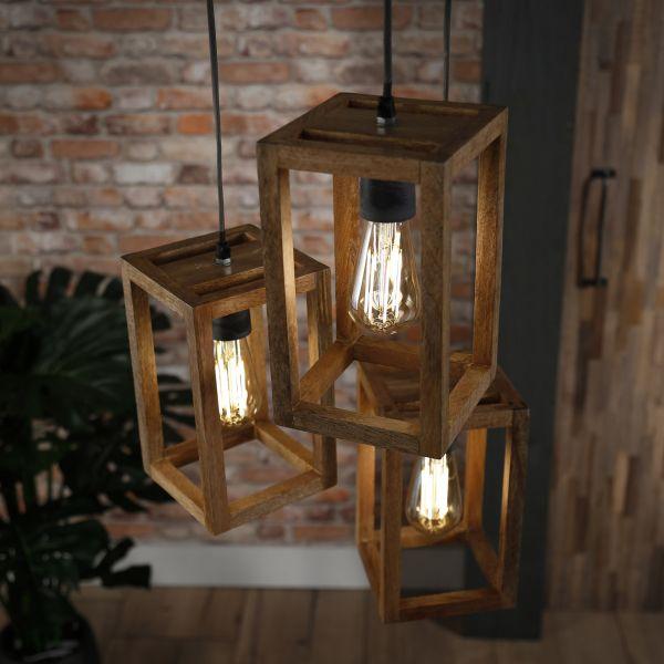 Hanglamp 3x houten frame getrapt - Massief mango naturel