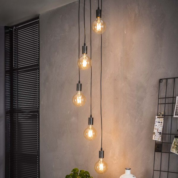 Hanglamp 5x getrapt - Charcoal